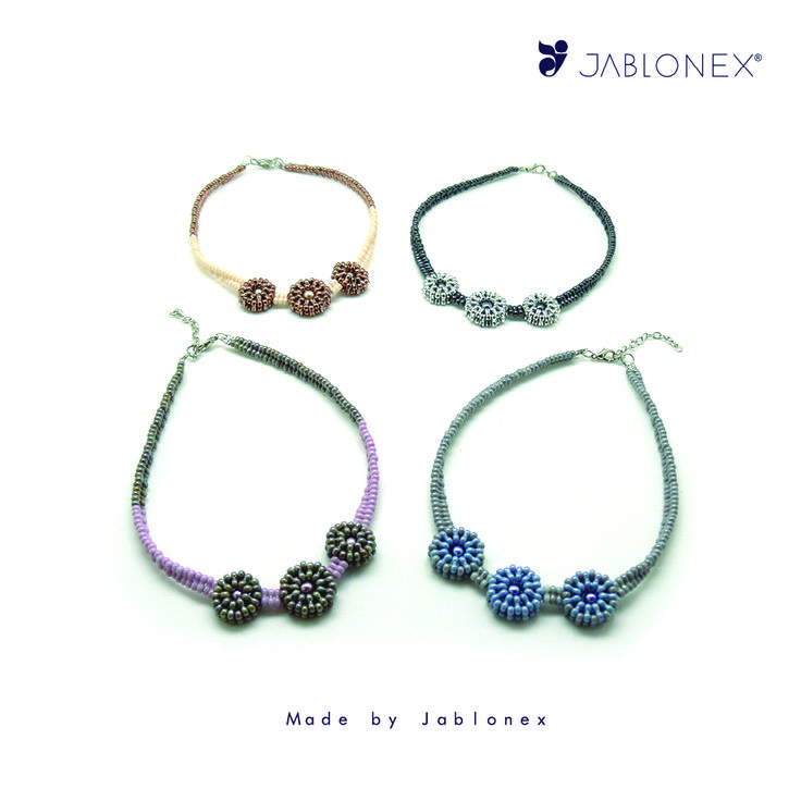 Made with Jablonex® Infinity Beads 3x6mm Ceramic and Metal finishes. Designed by Jablonex.