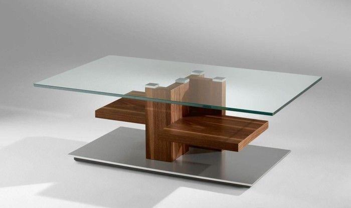 jolie table basse bois et verre pour le salon moderne