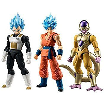 "Amazon.com: Dragon Ball Z Dragon Ball Super Shodo Set of 3 3.75"" PVC Figures [SSG Vegeta, SSG Goku & Gold Frieza]: Toys & Games"