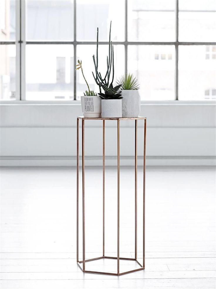 Pentagonal tall side table or plant stand - copper (ex-display) – Mink Interiors