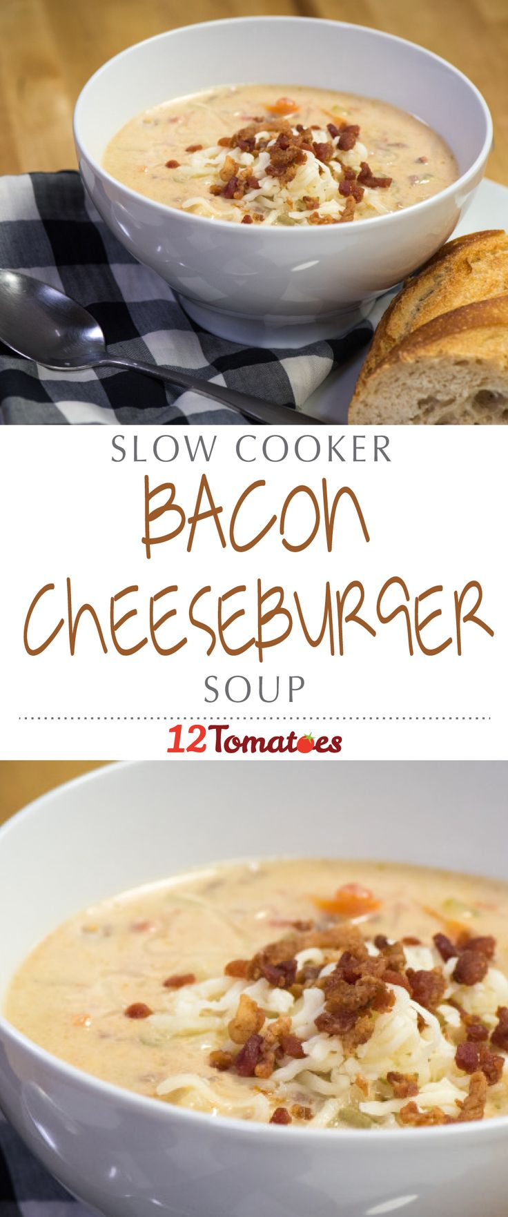 Slow Cooker Bacon Cheeseburger Soup | Packed with beef, veggies, cheese and bacon, is easy to make and your whole family will love it!