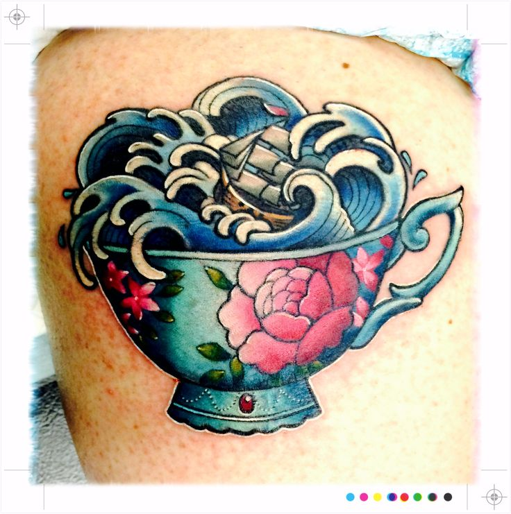 Storm in a Teacup tattoo by Makkala Rose (Flax Roots Tattoo, Hamilton, New Zealand) - exactly what I wanted and more!