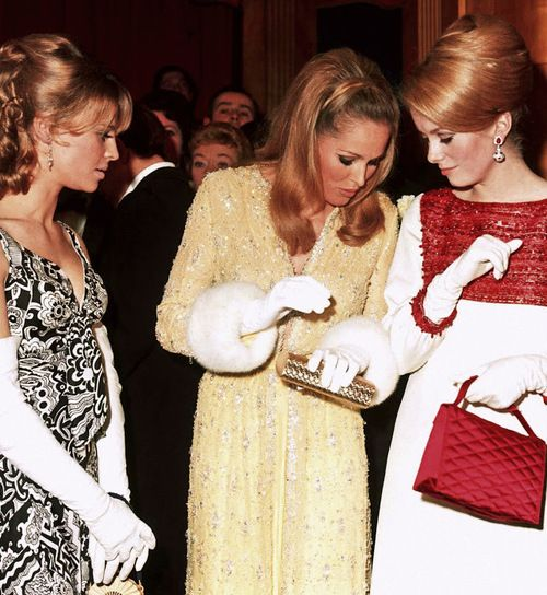 Julie Christie, Ursula Andress and Catherine Deneuve, 1966, photo by George Freston - gloves!