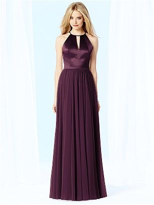 Deep purple full length romantic bridesmaid gown from Dessy