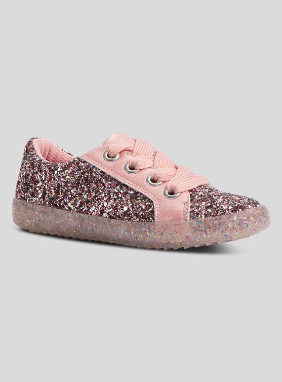 Kids Pink Glitter Trainers (6 Infant
