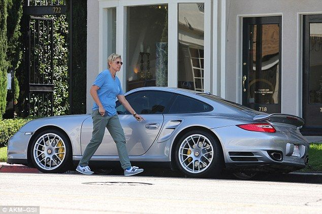 Ellen DeGeneres with her Porsche