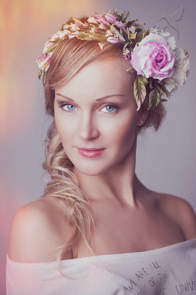"""Венок на голову """"Прованс"""" - цветы из шелка  ручной работы (Лилия Марченко)…"""