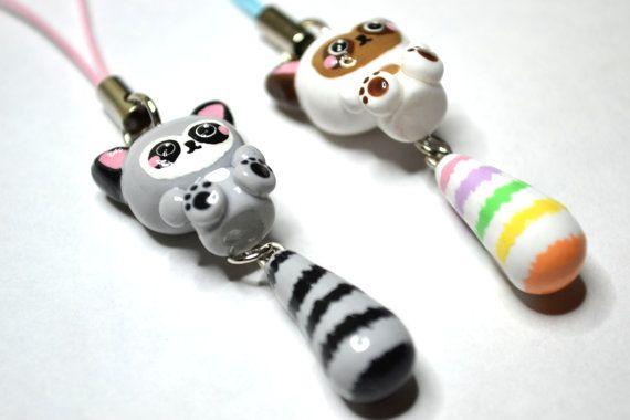 Raccoon Animal Charm with Dangling Tail by CheekyCharmz on Etsy, $12.00