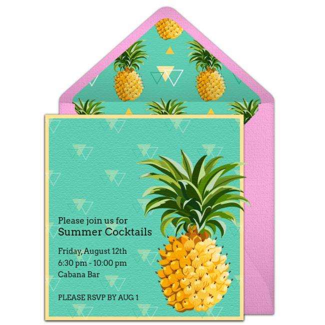 One of our favorite free summer party invitations, featuring a modern pineapple design! Easily personalize and send via email for a summer luau, cookout, and more.