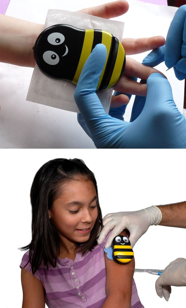 Do your kids hate getting shots? Give Buzzy a try. Vibrates and contains ice pack to confuse bodies nerves and distract/take away the pinch or poke of the needle