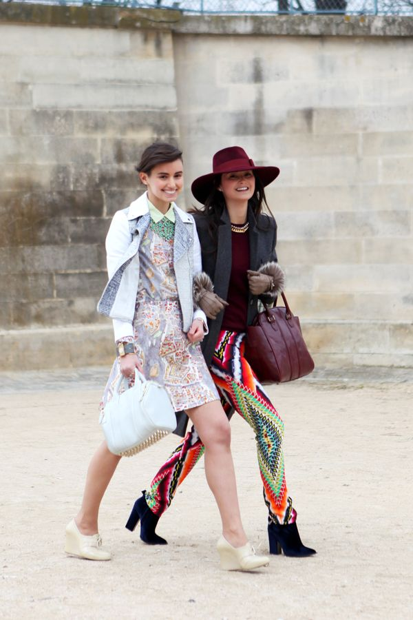 Anne Catherine and Peony Lim in Paris. Street style friends