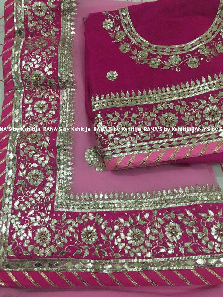 Pink beautiful fine Gota work handwork saree