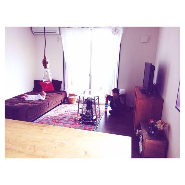 conさんの、ストーブガード,Aladdin,林檎木箱,NEALD,ペンダントライト,Lounge,のお部屋写真