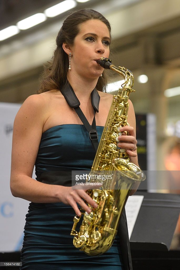 Australian saxophonist Amy Dickson performs for Station Sessions 2012 at St Pancras Station on November 15, 2012 in London, United Kingdom.