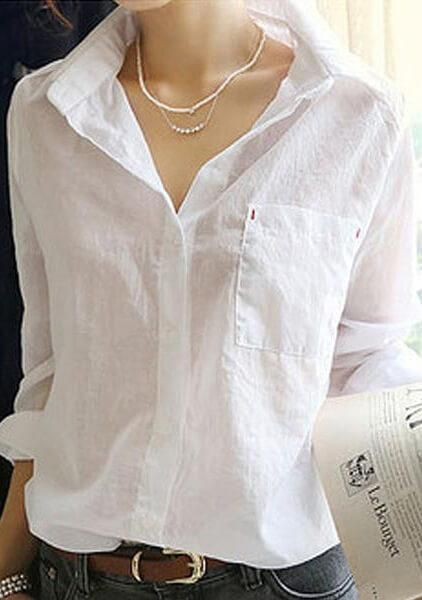 Cotton White Turn Down Collar Blouse In 2018 Products Pinterest