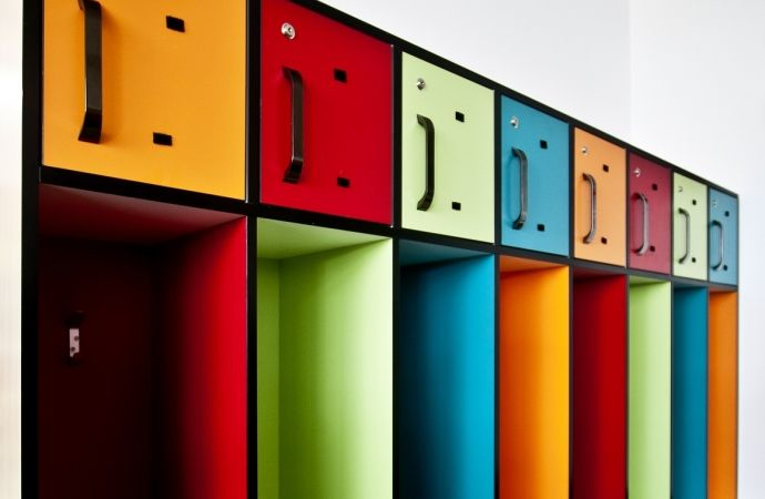 School lockers featuring three colours in Formica Sunflower, Formica Memphis Red and Formica Bud.