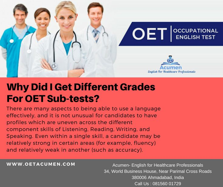 Why Did I Get Different Grades for #OET Sub-tests? #OETFAQs  #Enroll today at our #Baroda and #Ahmedabad Branch Help Line No. 081560 01729