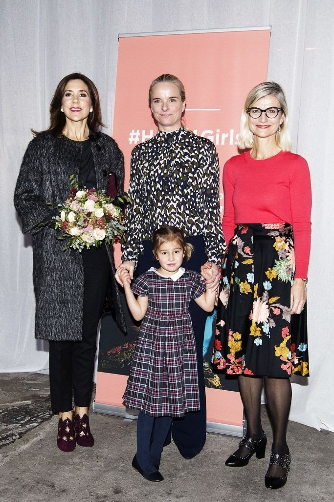 On November 7, 2017, As the patron of Maternity Foundation, Crown Princess Mary of Denmark attended Hack4Girls - Hackathon Symposium held at Papirhalen in Copenhagen, Denmark. The symposium is held for the purpose of finding solutions to the problems experienced by refugee girls and women.