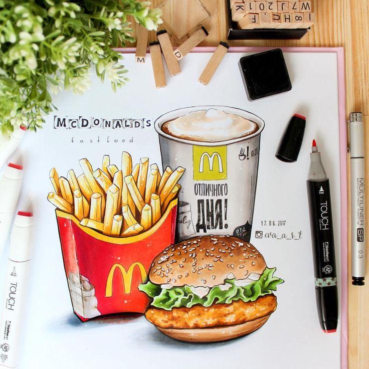 """221 mentions J'aime, 13 commentaires - Е.В.А. рисунки и скетчи (@eva_a_r_t) sur Instagram: """"Я, конечно, не любитель еды на улице. Но! Если вдруг надо, то это #mcdonalds  Правда, у меня есть…"""""""
