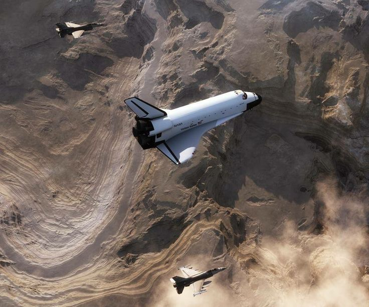 Space shuttle being escorted by F-16's