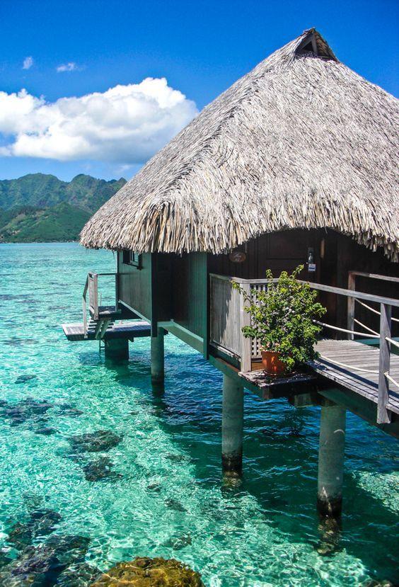 Overwater bungalow at the Hilton Moorea Lagoon Resort - Moorea, French Polynesia