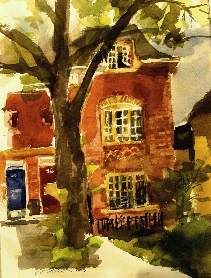 Watercolor painted en plein air in Toronto on a street with wonderful houses.