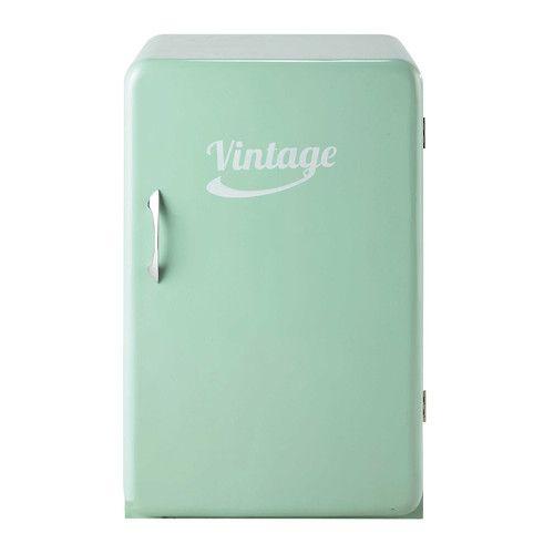 Buffet frigo vintage en bois vert d'eau L 55 cm