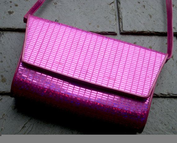 Vintage Charles Jourdan Glitter Fuchsia Clutch by OhlalaaVintage