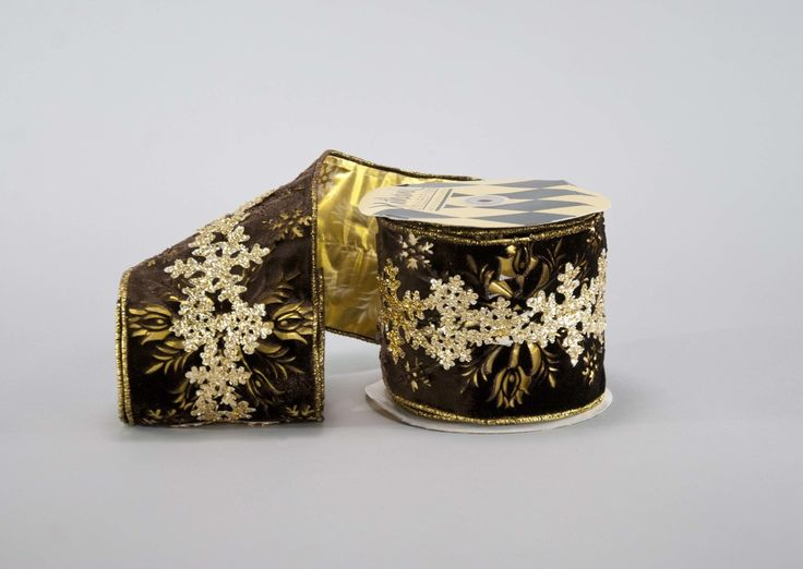 Katherine's Collection The Gilded Seasons Collection Two 5 x 10 Yds Cut Out Snowflake Ribbon Rolls Free Ship