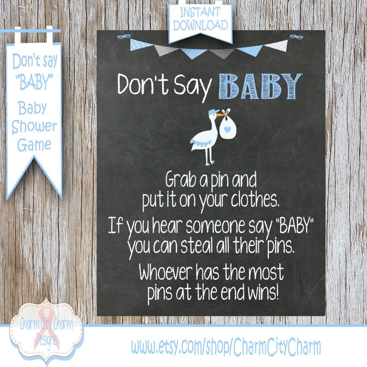 baby shower invitation wording for bringing diapers%0A Stork Don u    t Say Baby Baby Shower Game  Clothes Pin Game  Stork Theme