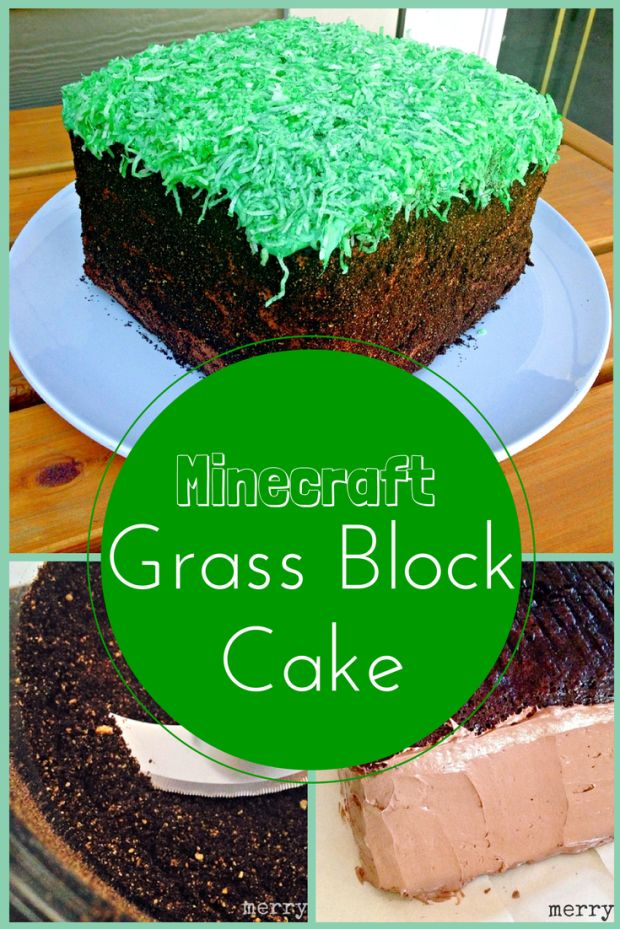 Minecraft Grass Block Cake Tutorial - Merry About Town