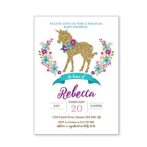 Baby Shower Unicorn ~ Glitter unicorn baby shower or birthday by crazyfoxpaper