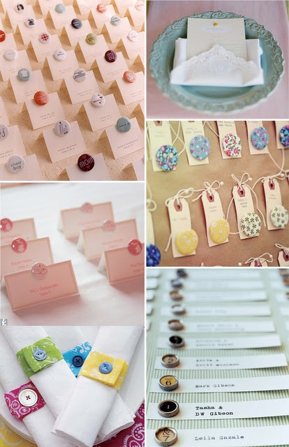 I love this button place cards and escort cards. The person who did this had a friend with a button maker, so she just supplied the buttons found on amazon. This was found on My Wedding Inspirations by Hat.