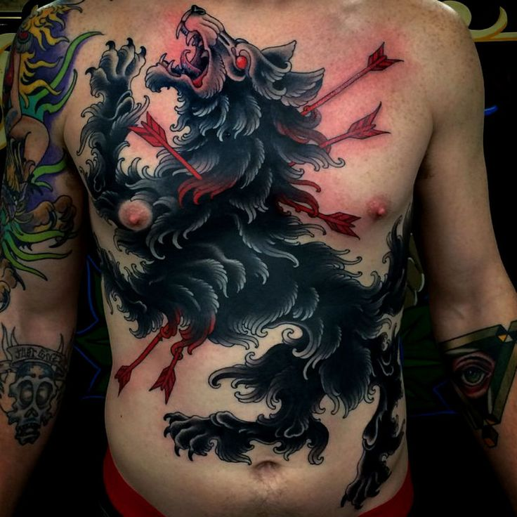 173 best wolf tattoo images on pinterest wolves tattoo for Dragon and wolf tattoo