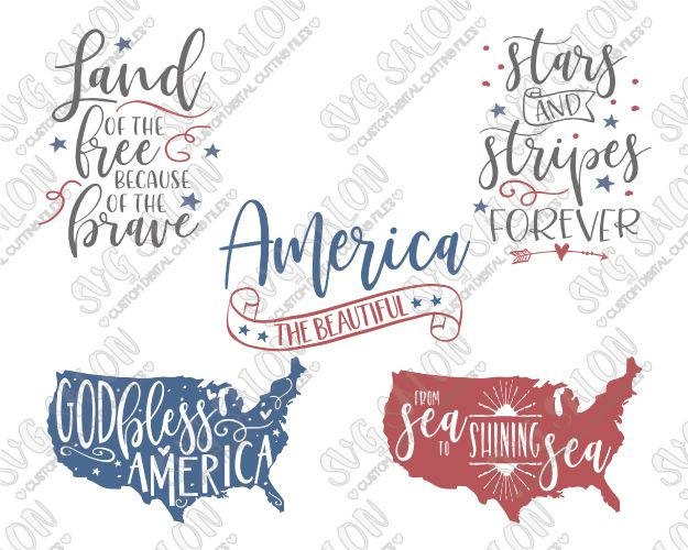 Patriotic Fourth of July Bundle SVG Cut File Set for Independence Day Shirts