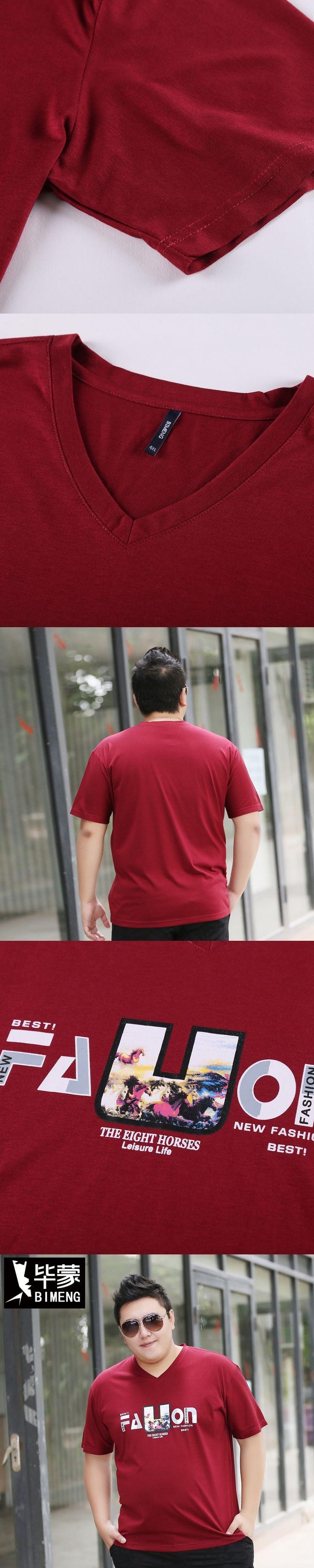 Bi Mengchao brand men's summer code add fertilizer to increase loose fashion English printing T-shirt fat T-shirt TX304