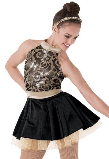"Gold and Black Sequined Mesh Bodice with Gold Collar and Waistband and Black Satin Skirt with Gold Glitter Tulle Underskirt - ""City Lights"""