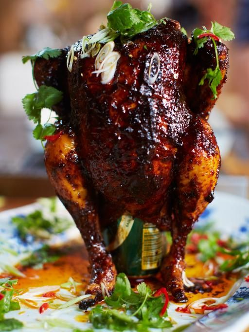 Sweet & spicy beer can chicken Juicy roast chicken with a twist I first roasted chicken like this when I visited the US – the steam from the beer creates the most amazingly juicy results.