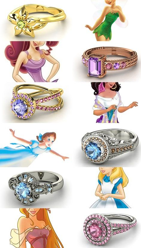 Disney inspired rings; Tinker Bell, Meg, Esmeralda, Wendy, Alice.     dragonfiretwistedwire.tumblr.com/tagged/ring%20design%20meme