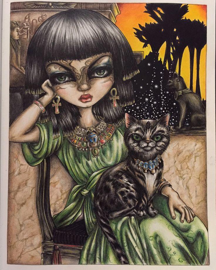Mujer Gato Libros Para Colorear Ps Marzo Instagram Arte De Hadas Ojos Grandes