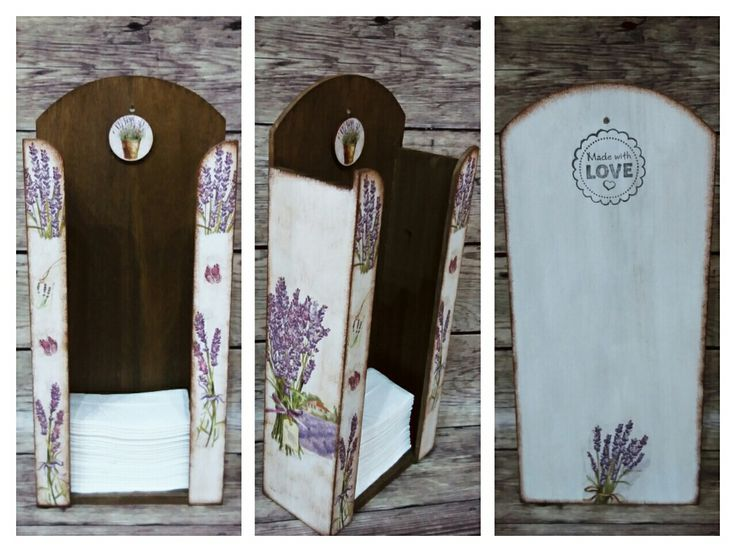 Lavender levendulás PZS tartó   Decoupage Handmade