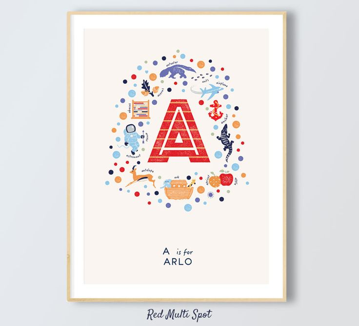 Letter A,  Boys Name Print, A is for Apple, Custom Boys Wall Art, Name Print, Illustrated Letter A, Christening Present, Red, Blue by PaperPaintPixels on Etsy