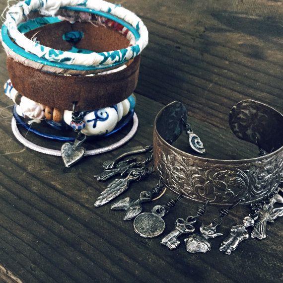 Pile de bracelet Gypsy  Ensemble de Boho bangle par quisnam sur Etsy