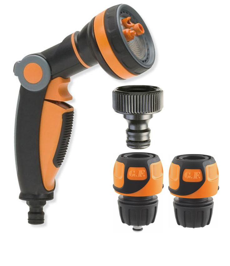 Garden Spray Gun Kit (Multi Jet) with Soft Touch fittings. Features easy thumb control to regulate and shut water off, 1x Aquastop, 1x Open and 1x 3/4' tap fitting. This makes watering easy and comfortable on the hands. Buy Now $29.95 includes shipping to your door.