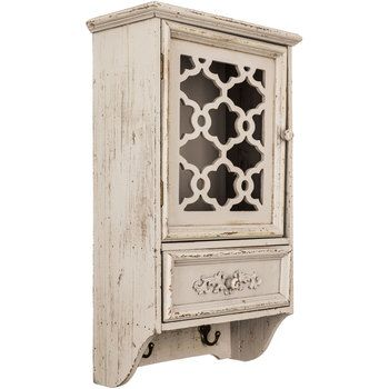 Antique Gray Cabinet with Hooks