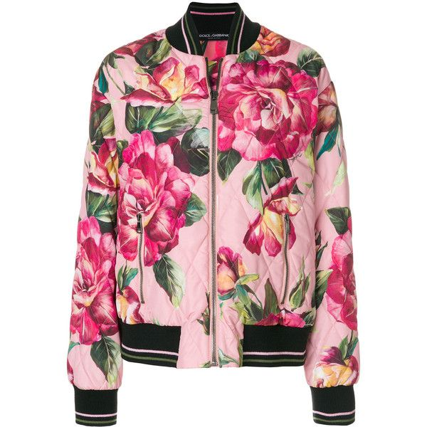 Dolce & Gabbana rose print bomber jacket ($2,205) ❤ liked on Polyvore featuring outerwear, jackets, floral-print bomber jackets, style bomber jacket, pink bomber jackets, bomber jackets and zip front bomber jacket