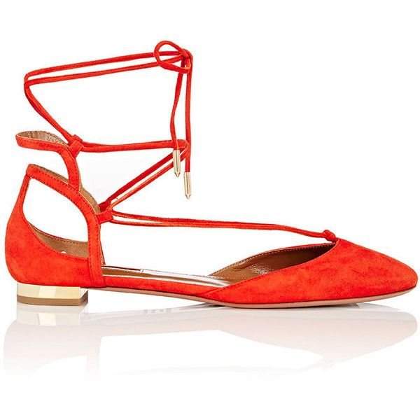 Aquazzura Women's Austin Ankle-Tie Flats ($695) ❤ liked on Polyvore featuring shoes, flats, orange, polish shoes, aquazzura shoes, round toe flats, flat pumps and ankle wrap flats