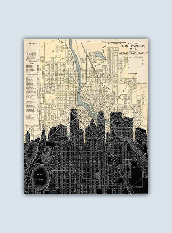 Minneapolis Skyline Minneapolis Art Print by GeographicArt on Etsy