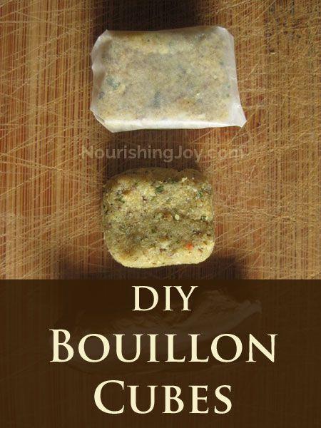 DIY Homemade Bouillon Cubes | NourishingJoy.com.  I'd like to find one w/o all the mushrooms though.
