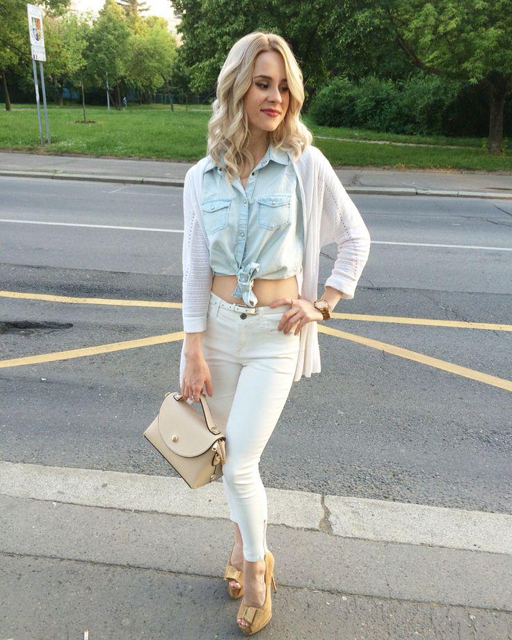Cardigan Motivi, blouse Bershka, jeans Mango, watches Guess